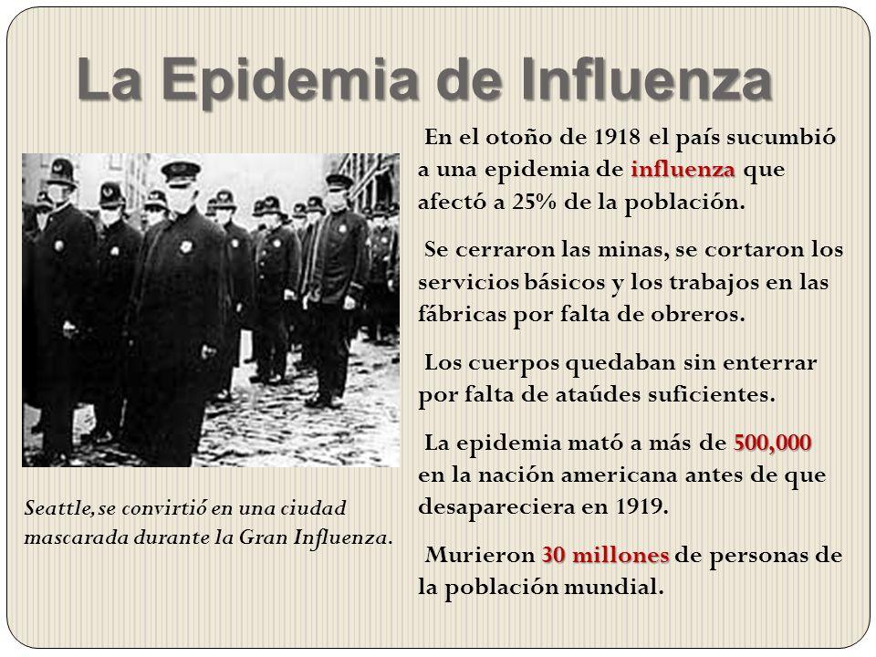 La Epidemia de Influenza influenza En el otoño de 1918 el país sucumbió a una epidemia de influenza que afectó a 25% de la población. Se cerraron las