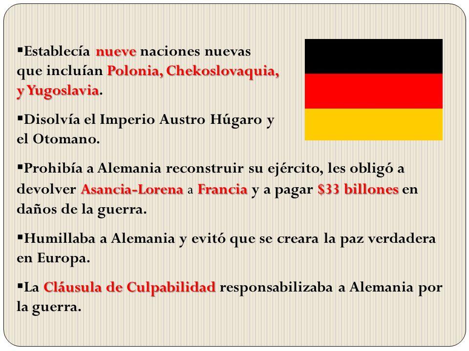 nueve Polonia, Chekoslovaquia, y Yugoslavia Establecía nueve naciones nuevas que incluían Polonia, Chekoslovaquia, y Yugoslavia. Disolvía el Imperio A
