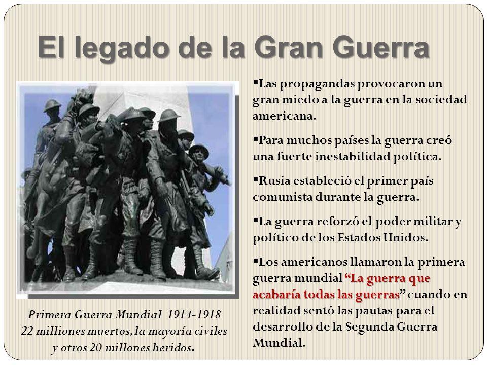 El legado de la Gran Guerra Las propagandas provocaron un gran miedo a la guerra en la sociedad americana. Para muchos países la guerra creó una fuert