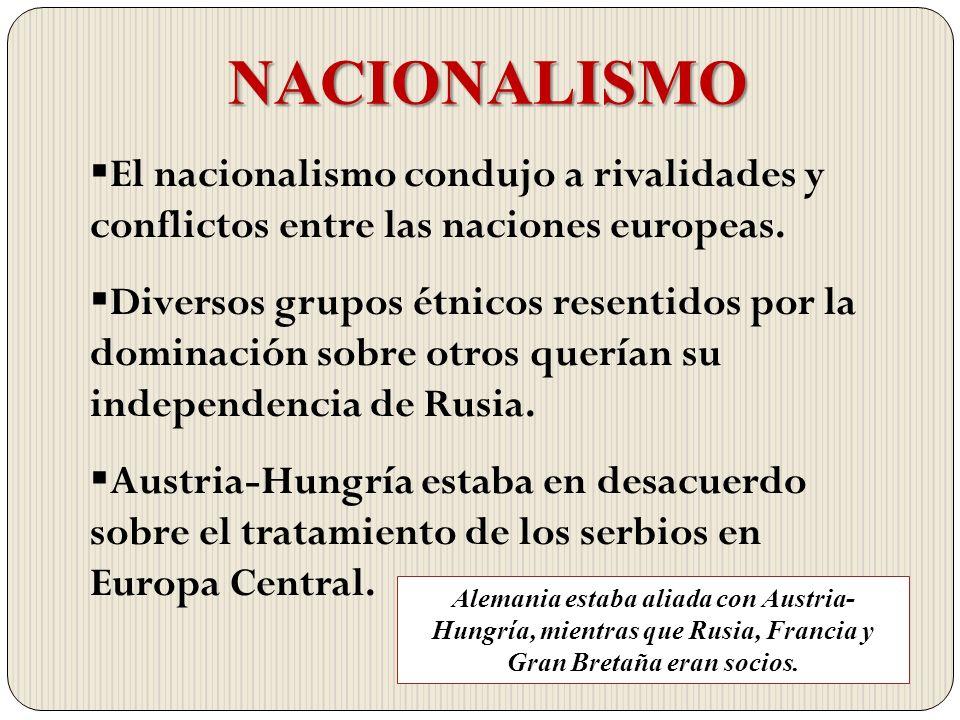NACIONALISMO El nacionalismo condujo a rivalidades y conflictos entre las naciones europeas. Diversos grupos étnicos resentidos por la dominación sobr
