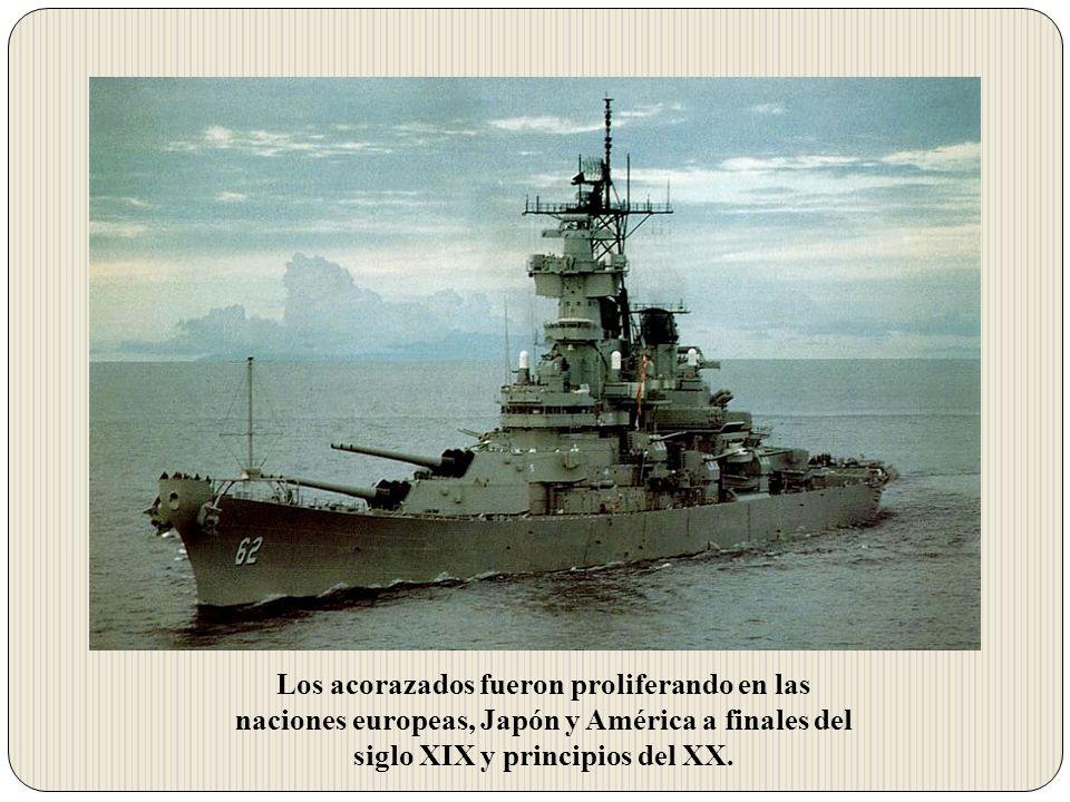 Los acorazados fueron proliferando en las naciones europeas, Japón y América a finales del siglo XIX y principios del XX.