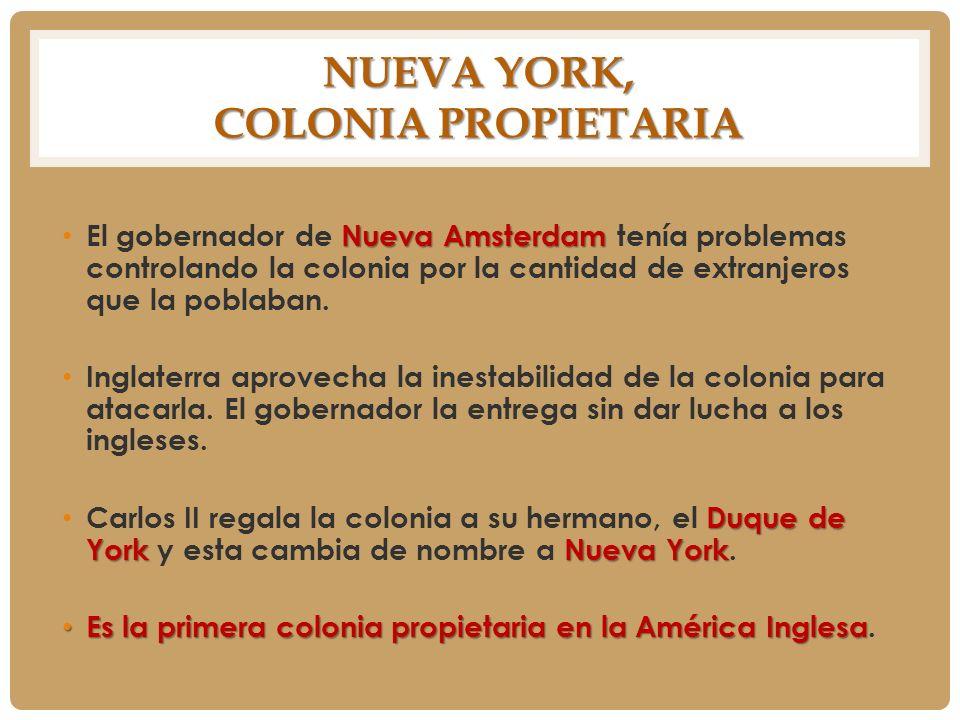 NUEVA YORK, COLONIA PROPIETARIA Nueva Amsterdam El gobernador de Nueva Amsterdam tenía problemas controlando la colonia por la cantidad de extranjeros