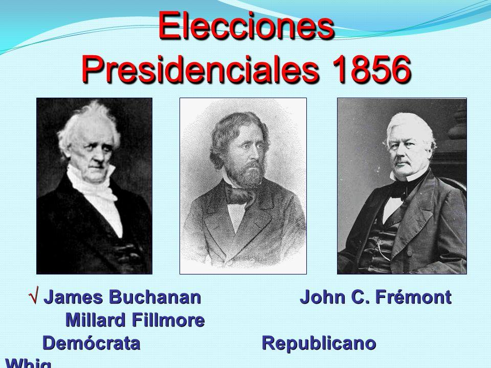 Elecciones Presidenciales 1856 James Buchanan John C. Frémont Millard Fillmore Demócrata Republicano Whig