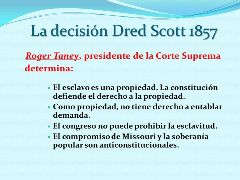 Roger Taney, presidente de la Corte Suprema determina: El esclavo es una propiedad. La constitución defiende el derecho a la propiedad. Como propiedad