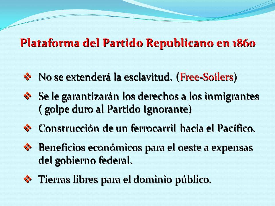 Plataforma del Partido Republicano en 1860 No se extenderá la esclavitud. (Free-Soilers) Se le garantizarán los derechos a los inmigrantes ( golpe dur