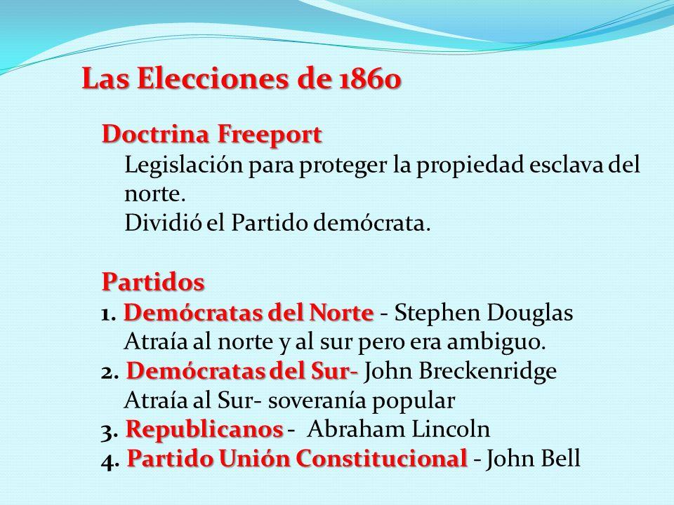 Las Elecciones de 1860 Doctrina Freeport Legislación para proteger la propiedad esclava del norte. Dividió el Partido demócrata.Partidos Demócratas de