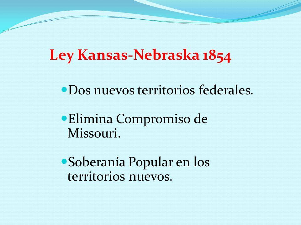 Ley Kansas-Nebraska 1854 Dos nuevos territorios federales. Elimina Compromiso de Missouri. Soberanía Popular en los territorios nuevos.
