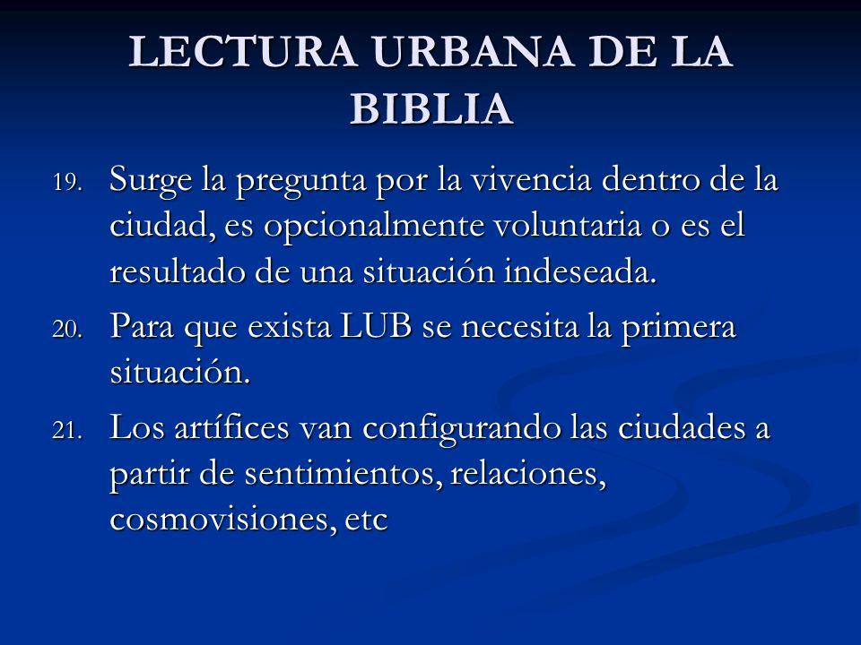 LECTURA URBANA DE LA BIBLIA 19. Surge la pregunta por la vivencia dentro de la ciudad, es opcionalmente voluntaria o es el resultado de una situación