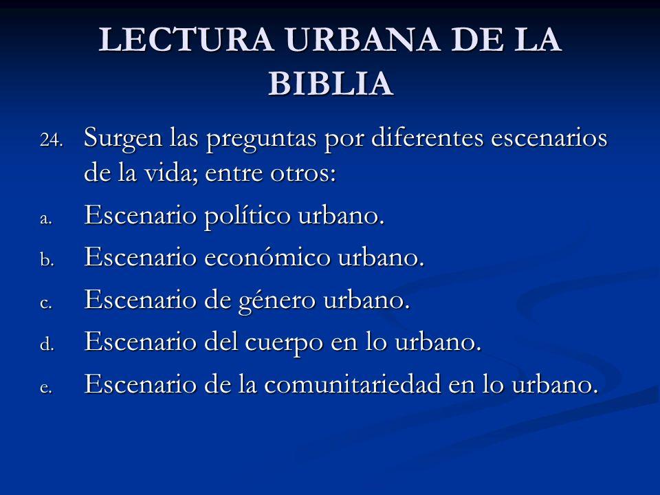 LECTURA URBANA DE LA BIBLIA 24. Surgen las preguntas por diferentes escenarios de la vida; entre otros: a. Escenario político urbano. b. Escenario eco