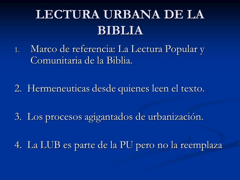 LECTURA URBANA DE LA BIBLIA 1. Marco de referencia: La Lectura Popular y Comunitaria de la Biblia. 2. Hermeneuticas desde quienes leen el texto. 3. Lo