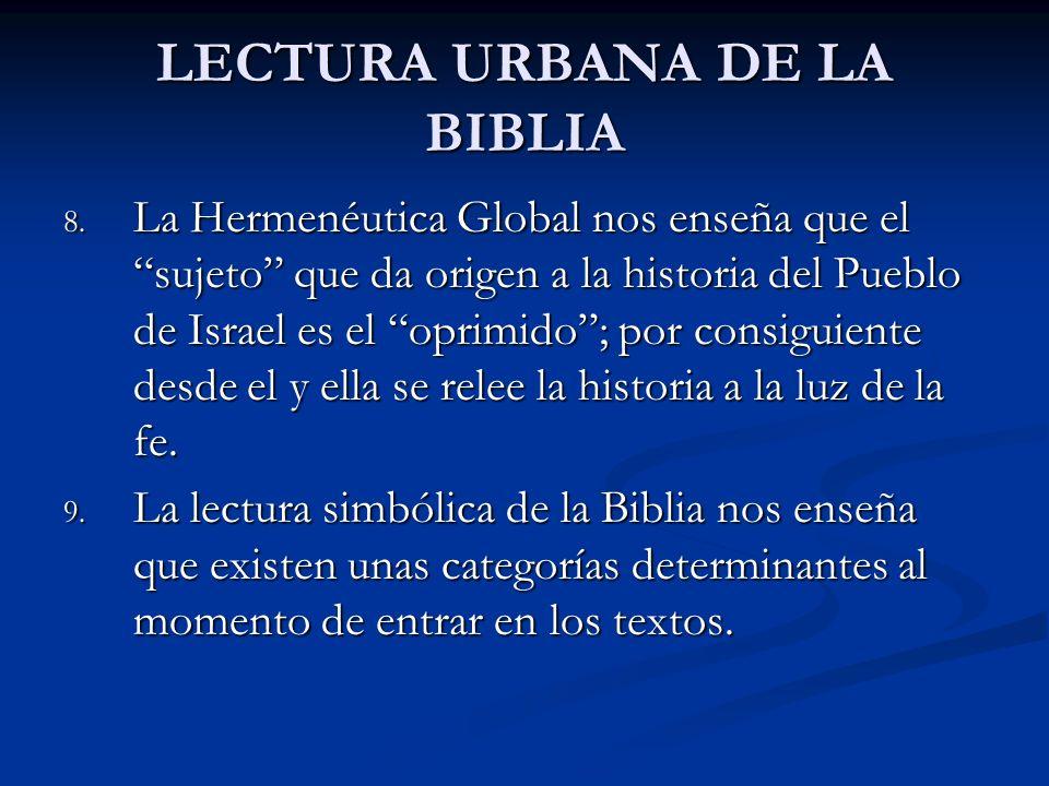 LECTURA URBANA DE LA BIBLIA 8. La Hermenéutica Global nos enseña que el sujeto que da origen a la historia del Pueblo de Israel es el oprimido; por co