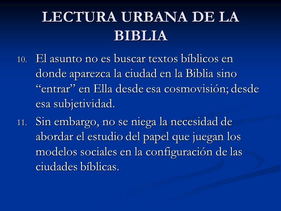 LECTURA URBANA DE LA BIBLIA 10. El asunto no es buscar textos bíblicos en donde aparezca la ciudad en la Biblia sino entrar en Ella desde esa cosmovis