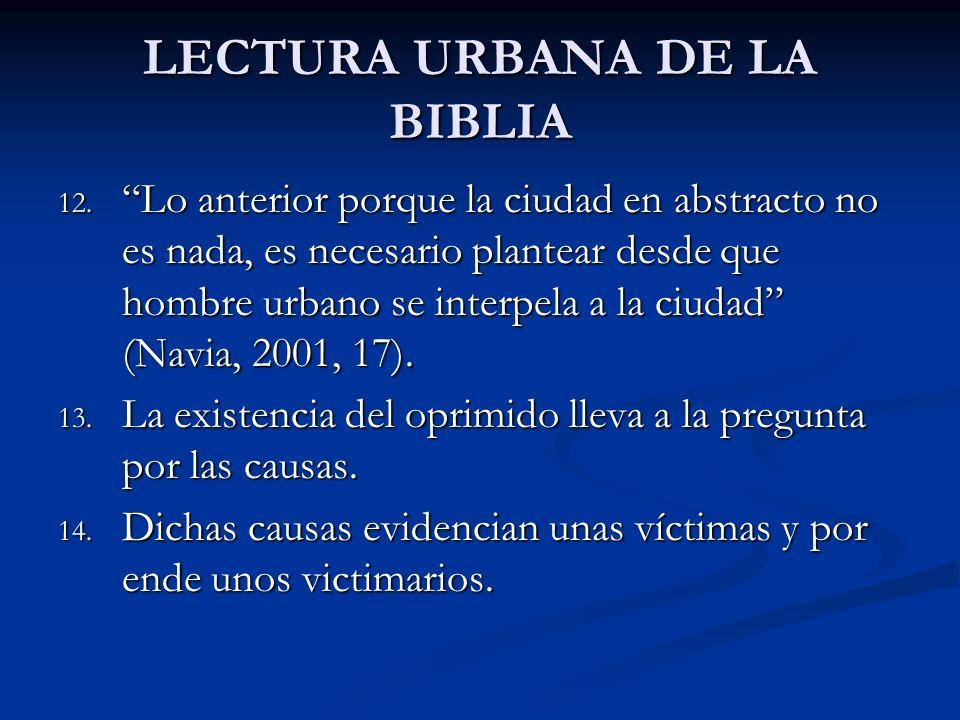 LECTURA URBANA DE LA BIBLIA 12. Lo anterior porque la ciudad en abstracto no es nada, es necesario plantear desde que hombre urbano se interpela a la