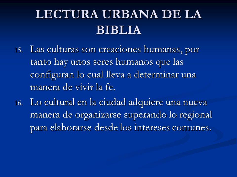 LECTURA URBANA DE LA BIBLIA 15. Las culturas son creaciones humanas, por tanto hay unos seres humanos que las configuran lo cual lleva a determinar un