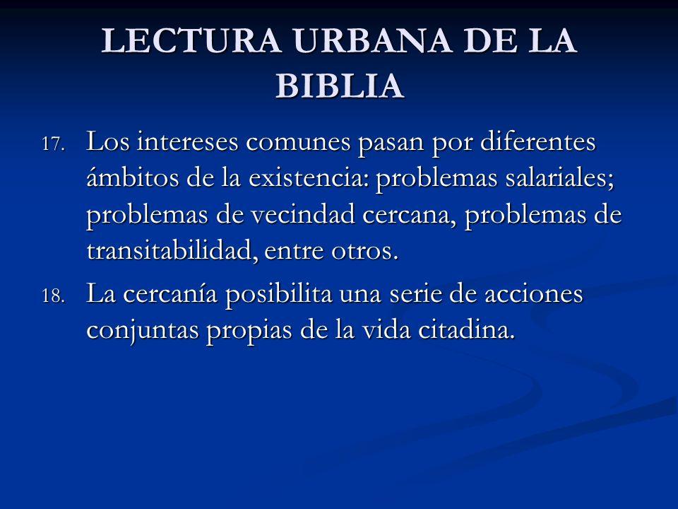 LECTURA URBANA DE LA BIBLIA 17. Los intereses comunes pasan por diferentes ámbitos de la existencia: problemas salariales; problemas de vecindad cerca