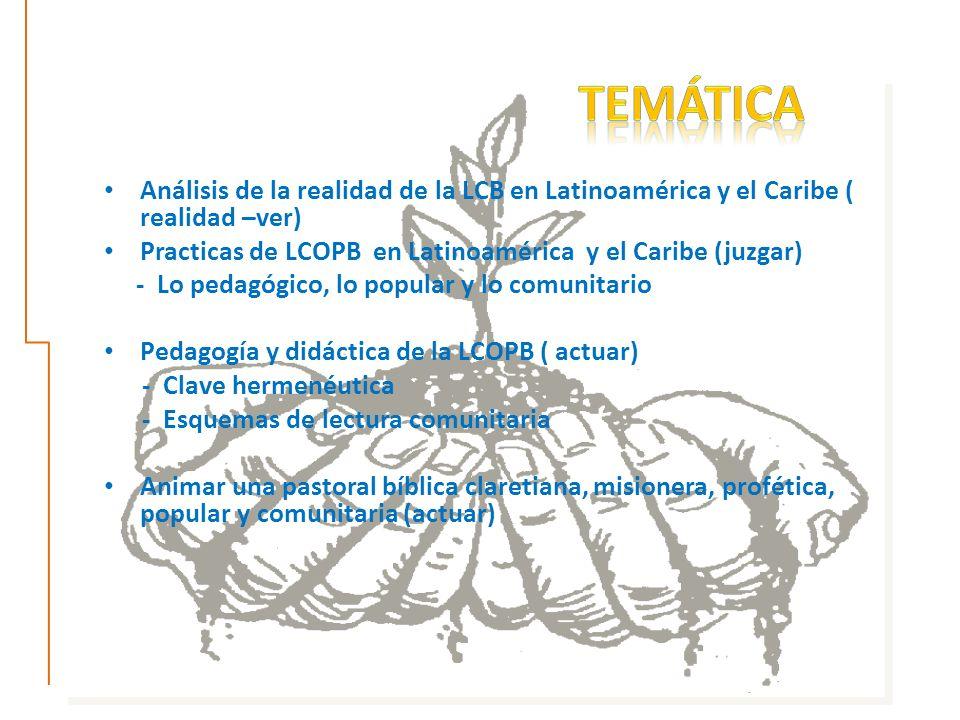 Análisis de la realidad de la LCB en Latinoamérica y el Caribe ( realidad –ver) Practicas de LCOPB en Latinoamérica y el Caribe (juzgar) - Lo pedagógico, lo popular y lo comunitario Pedagogía y didáctica de la LCOPB ( actuar) - Clave hermenéutica - Esquemas de lectura comunitaria Animar una pastoral bíblica claretiana, misionera, profética, popular y comunitaria (actuar)