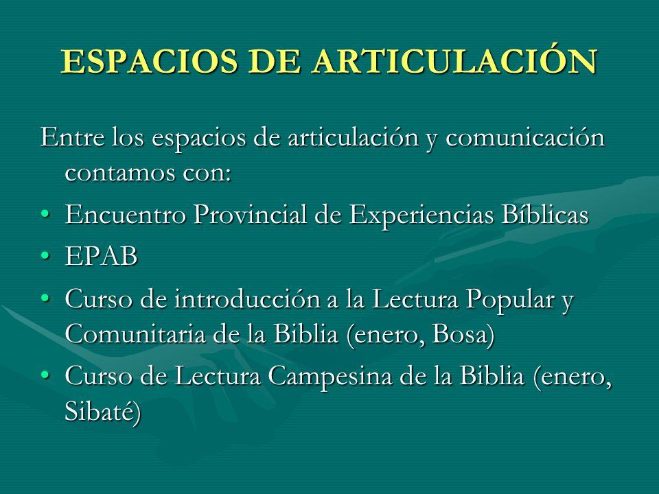 ESPACIOS DE ARTICULACIÓN Entre los espacios de articulación y comunicación contamos con: Encuentro Provincial de Experiencias BíblicasEncuentro Provin
