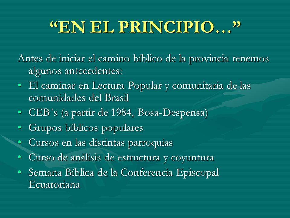 EN EL PRINCIPIO… Antes de iniciar el camino bíblico de la provincia tenemos algunos antecedentes: El caminar en Lectura Popular y comunitaria de las c