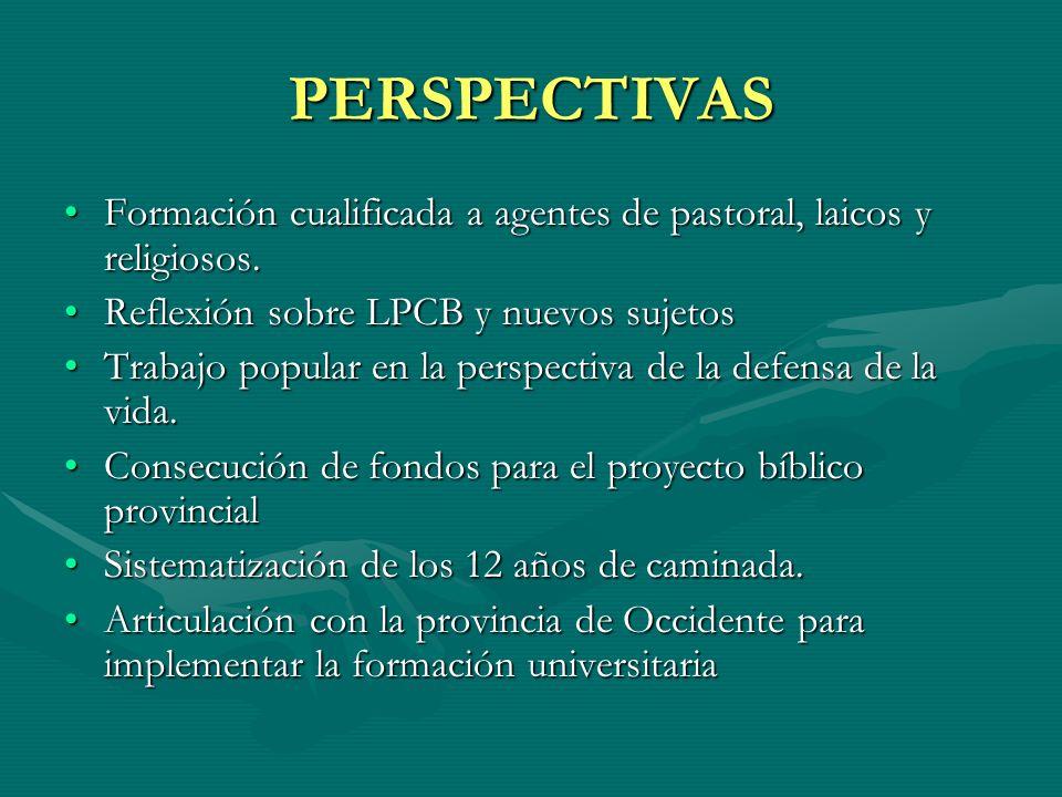 PERSPECTIVAS Formación cualificada a agentes de pastoral, laicos y religiosos.Formación cualificada a agentes de pastoral, laicos y religiosos. Reflex