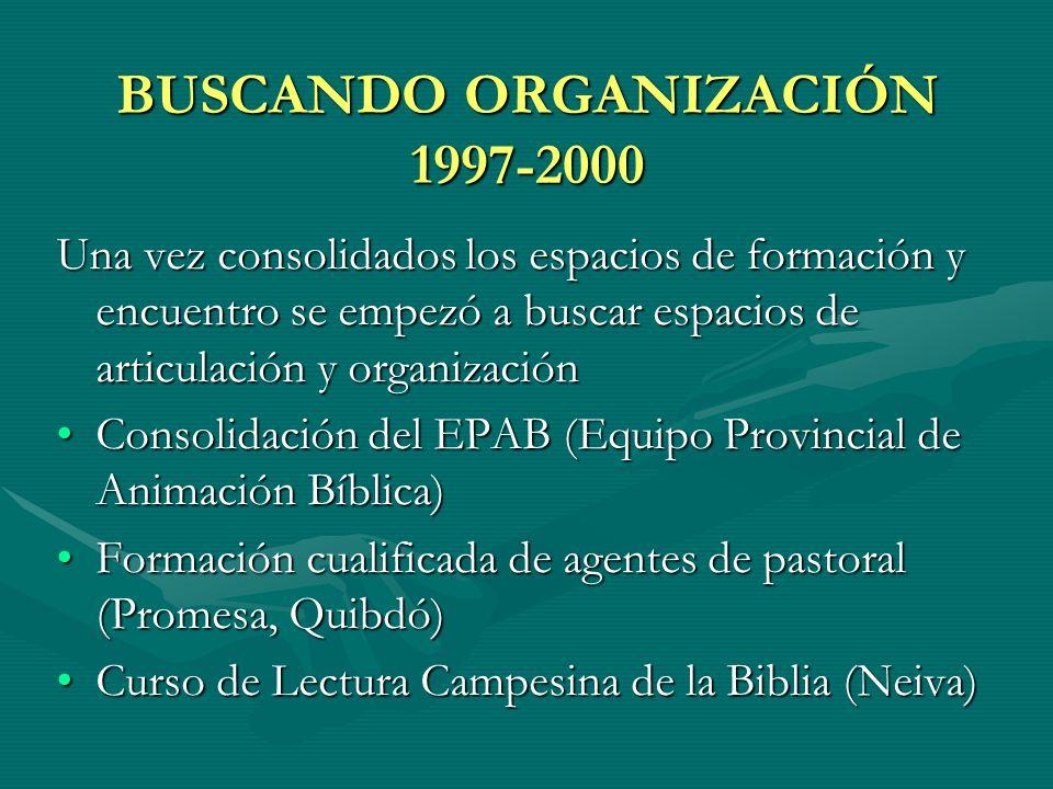 BUSCANDO ORGANIZACIÓN 1997-2000 Una vez consolidados los espacios de formación y encuentro se empezó a buscar espacios de articulación y organización