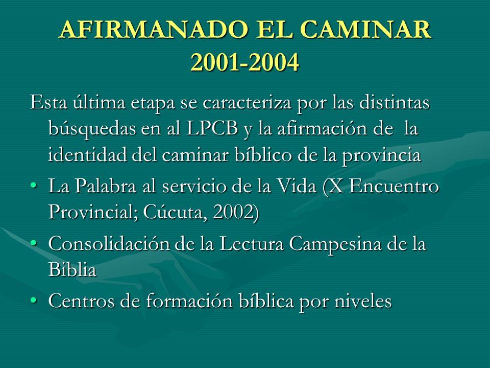 AFIRMANADO EL CAMINAR 2001-2004 Esta última etapa se caracteriza por las distintas búsquedas en al LPCB y la afirmación de la identidad del caminar bí