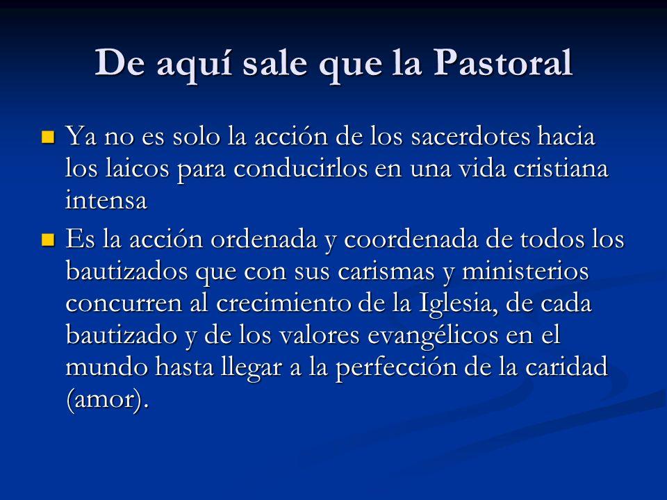 De aquí sale que la Pastoral Ya no es solo la acción de los sacerdotes hacia los laicos para conducirlos en una vida cristiana intensa Ya no es solo l