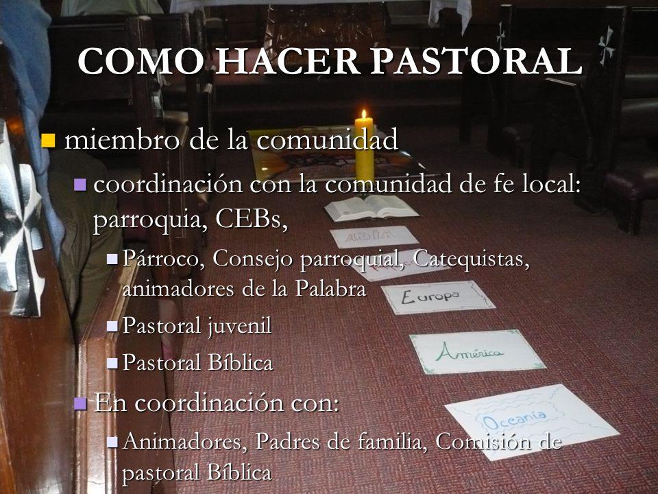 COMO HACER PASTORAL miembro de la comunidad miembro de la comunidad coordinación con la comunidad de fe local: parroquia, CEBs, coordinación con la co