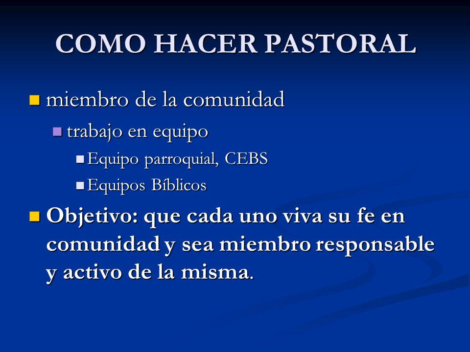 COMO HACER PASTORAL miembro de la comunidad miembro de la comunidad trabajo en equipo trabajo en equipo Equipo parroquial, CEBS Equipo parroquial, CEB