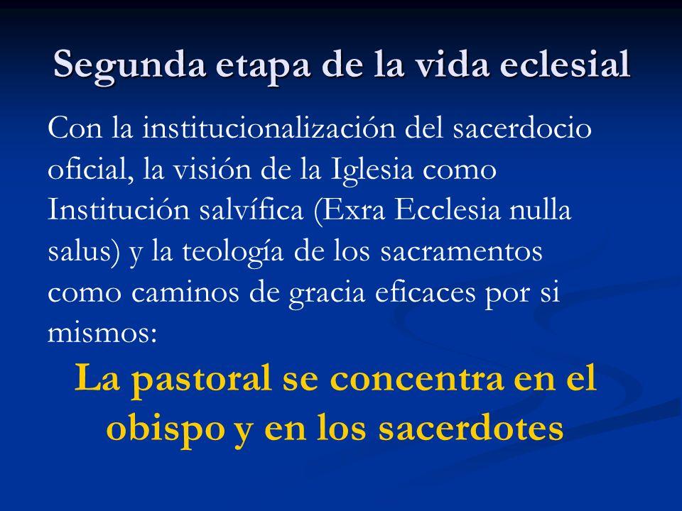 Segunda etapa de la vida eclesial Con la institucionalización del sacerdocio oficial, la visión de la Iglesia como Institución salvífica (Exra Ecclesi