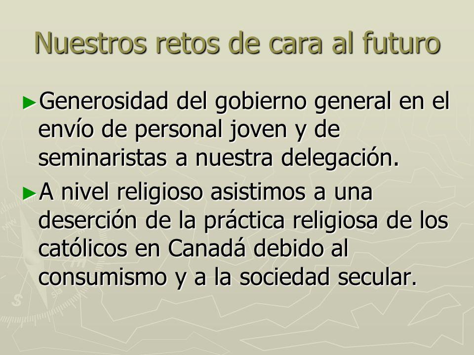 Nuestros retos de cara al futuro Misión compartida: implementar nuestro apostolado con mayor participación laical.