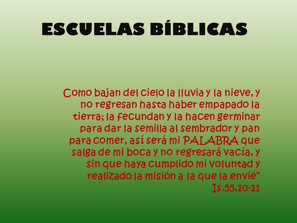 ESCUELAS BÍBLICAS Como bajan del cielo la lluvia y la nieve, y no regresan hasta haber empapado la tierra; la fecundan y la hacen germinar para dar la