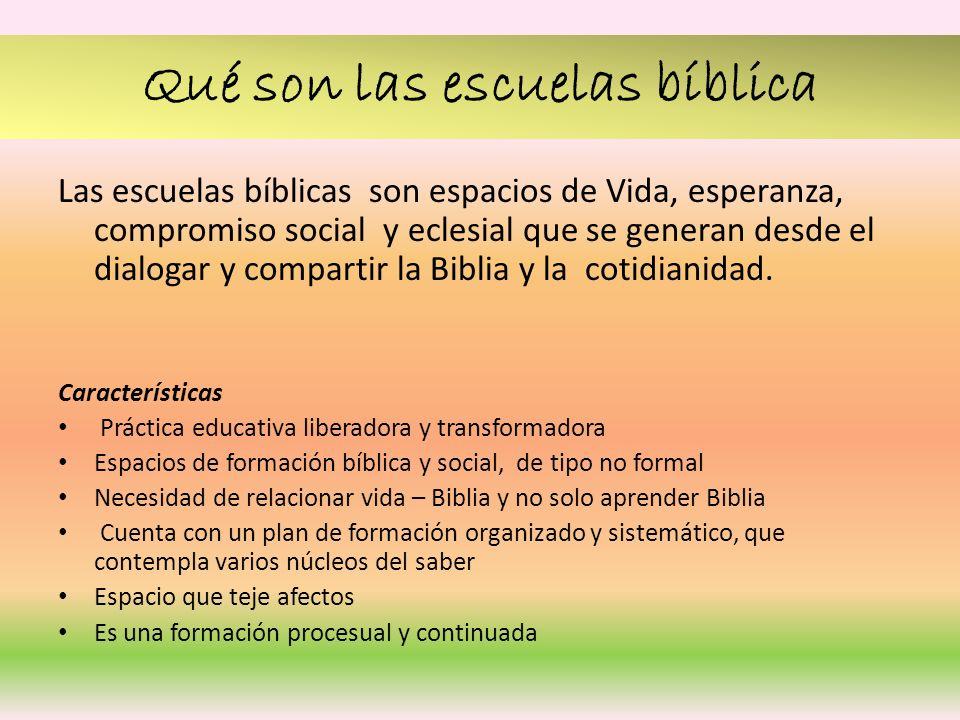 Qué son las escuelas bíblica Las escuelas bíblicas son espacios de Vida, esperanza, compromiso social y eclesial que se generan desde el dialogar y co