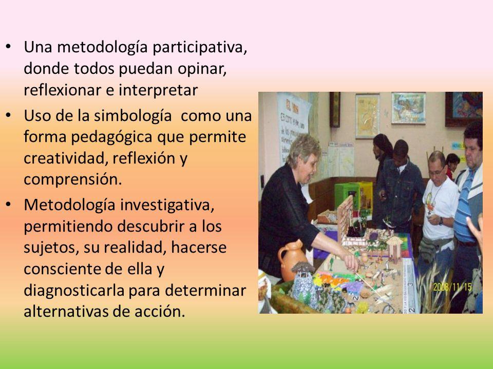 Una metodología participativa, donde todos puedan opinar, reflexionar e interpretar Uso de la simbología como una forma pedagógica que permite creativ