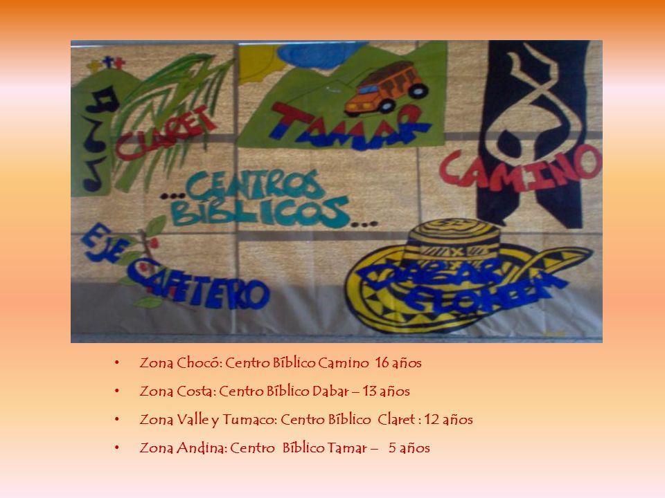 Zona Chocó: Centro Bíblico Camino 16 años Zona Costa: Centro Bíblico Dabar – 13 años Zona Valle y Tumaco: Centro Bíblico Claret : 12 años Zona Andina: