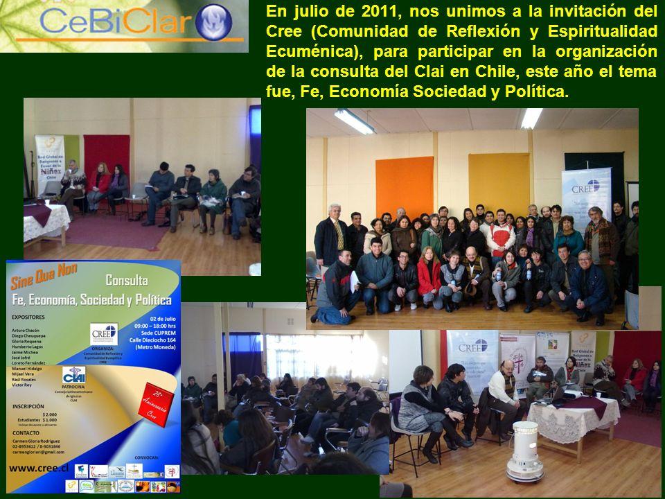 En julio de 2011, nos unimos a la invitación del Cree (Comunidad de Reflexión y Espiritualidad Ecuménica), para participar en la organización de la co