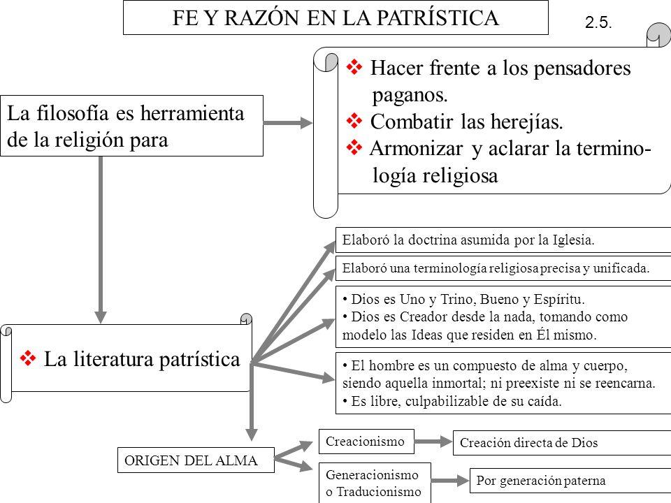 FE Y RAZÓN EN LA PATRÍSTICA La filosofía es herramienta de la religión para H acer frente a los pensadores paganos. C ombatir las herejías. A rmonizar