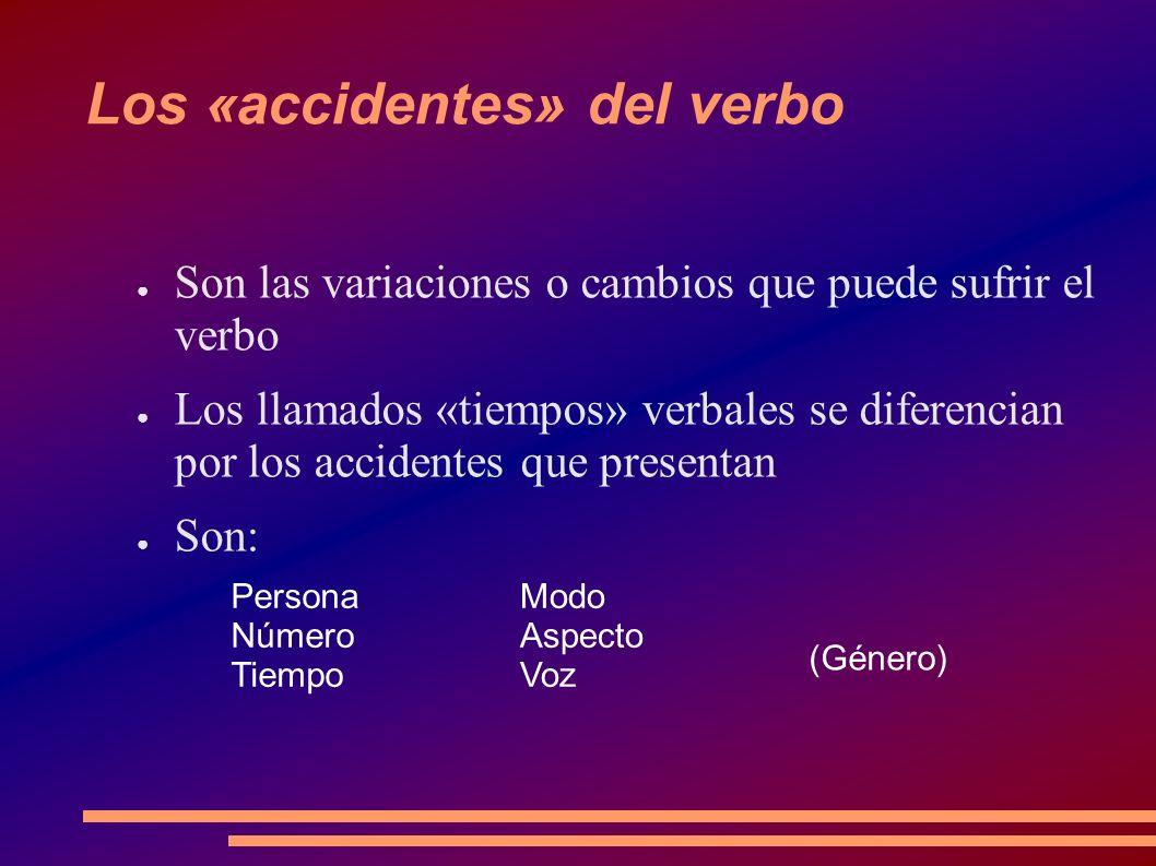 La persona, el número y el género Hacen referencia al sujeto del verbo (concordancia) El género sólo aparece en la pasiva.