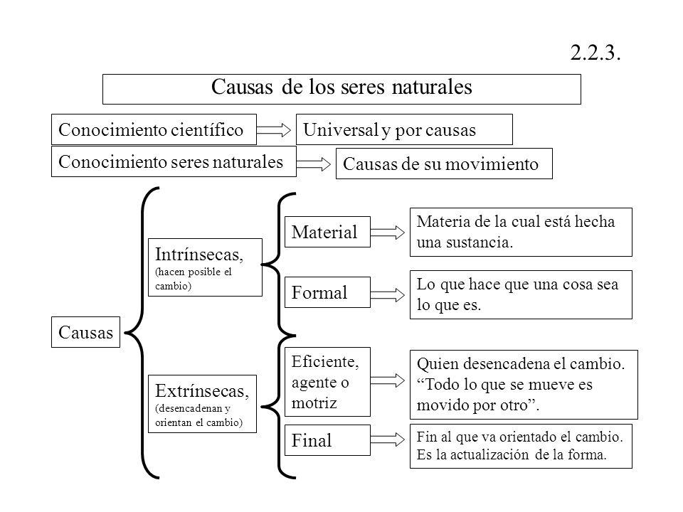 Causas de los seres naturales 2.2.3. Conocimiento científicoUniversal y por causas Conocimiento seres naturales Causas de su movimiento Causas Intríns