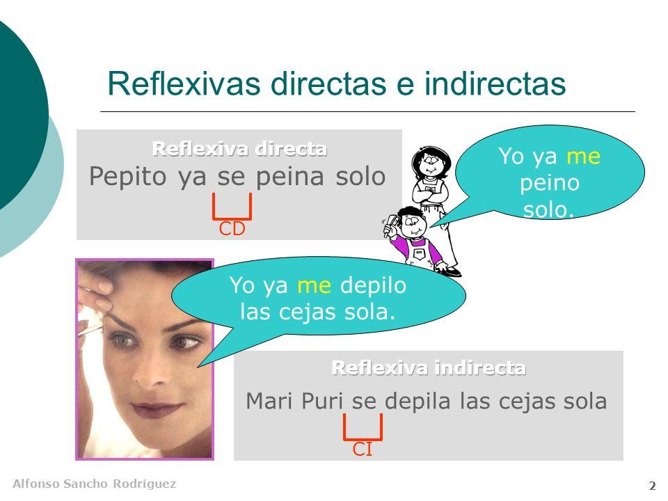 Alfonso Sancho Rodríguez 2 Reflexivas directas e indirectas Pepito ya se peina solo Mari Puri se depila las cejas sola Yo ya me peino solo.