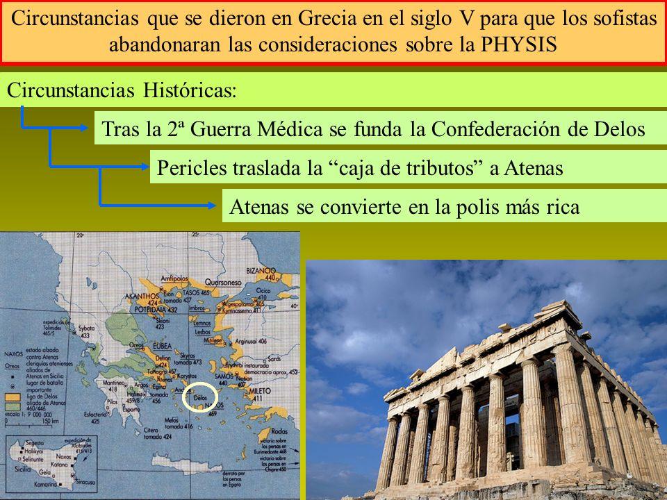Circunstancias que se dieron en Grecia en el siglo V para que los sofistas abandonaran las consideraciones sobre la PHYSIS Circunstancias Históricas: