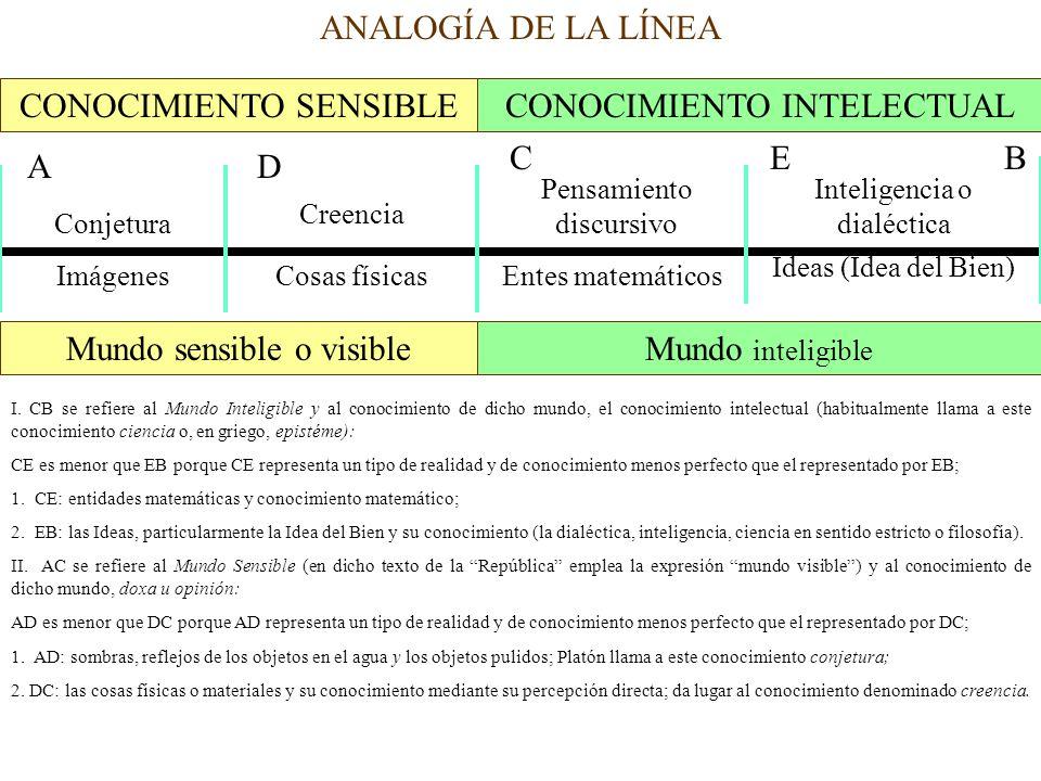 ANALOGÍA DE LA LÍNEA CONOCIMIENTO SENSIBLECONOCIMIENTO INTELECTUAL AD CEB Conjetura Creencia Pensamiento discursivo Inteligencia o dialéctica Imágenes