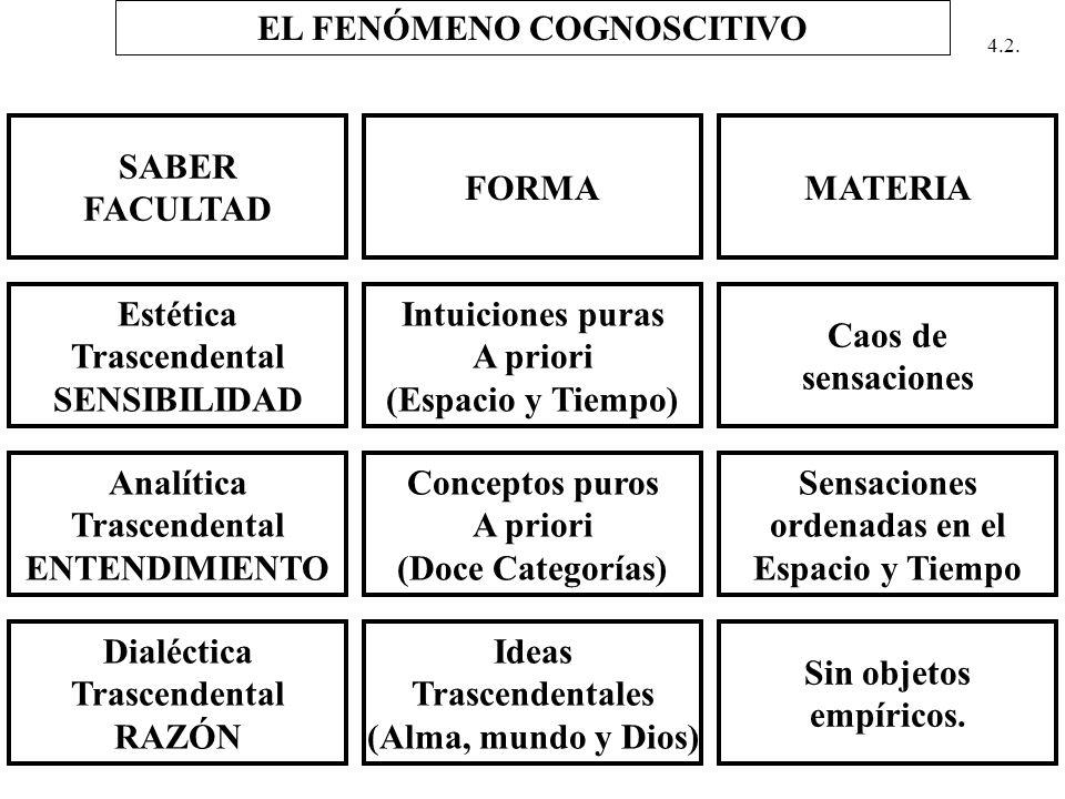EL FENÓMENO COGNOSCITIVO SABER FACULTAD FORMAMATERIA Estética Trascendental SENSIBILIDAD Intuiciones puras A priori (Espacio y Tiempo) Caos de sensaci