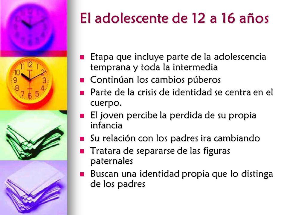 El adolescente de 12 a 16 años Etapa que incluye parte de la adolescencia temprana y toda la intermedia Etapa que incluye parte de la adolescencia tem
