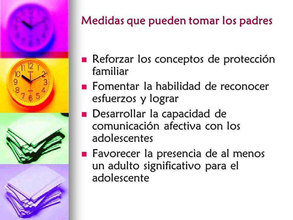Medidas que pueden tomar los padres Reforzar los conceptos de protección familiar Reforzar los conceptos de protección familiar Fomentar la habilidad