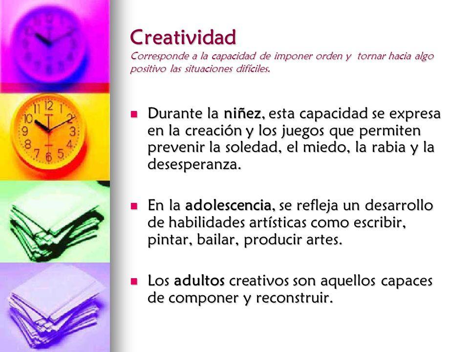 Creatividad Corresponde a la capacidad de imponer orden y tornar hacia algo positivo las situaciones difíciles. Durante la niñez, esta capacidad se ex