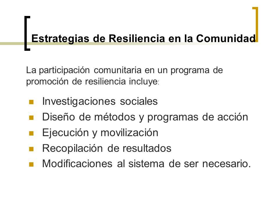 Estrategias de Resiliencia en la Comunidad Investigaciones sociales Diseño de métodos y programas de acción Ejecución y movilización Recopilación de r