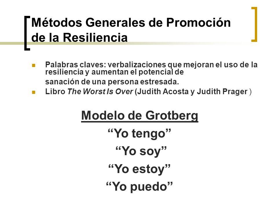 Métodos Generales de Promoción de la Resiliencia Palabras claves: verbalizaciones que mejoran el uso de la resiliencia y aumentan el potencial de sana