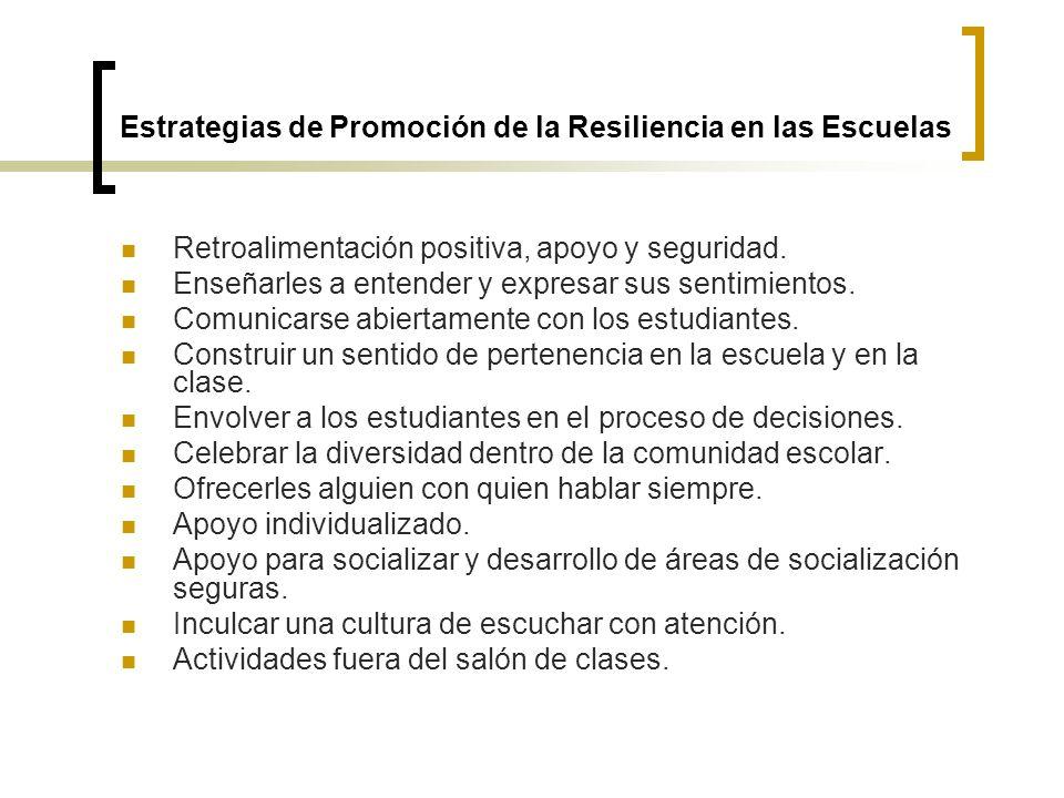 Estrategias de Promoción de la Resiliencia en las Escuelas Retroalimentación positiva, apoyo y seguridad. Enseñarles a entender y expresar sus sentimi