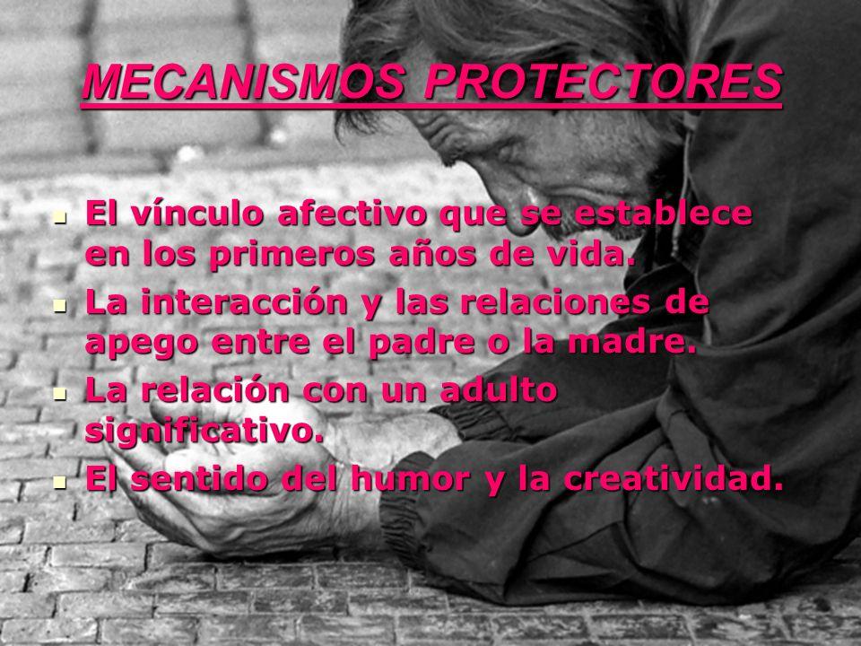 MECANISMOS PROTECTORES El vínculo afectivo que se establece en los primeros años de vida. El vínculo afectivo que se establece en los primeros años de