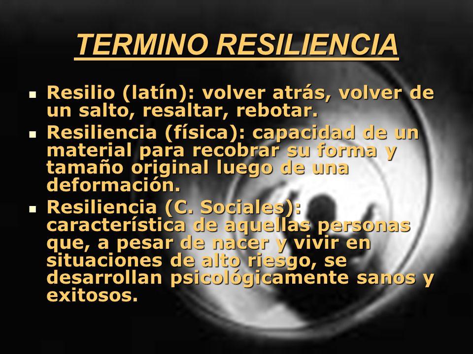 TERMINO RESILIENCIA Resilio (latín): volver atrás, volver de un salto, resaltar, rebotar. Resilio (latín): volver atrás, volver de un salto, resaltar,